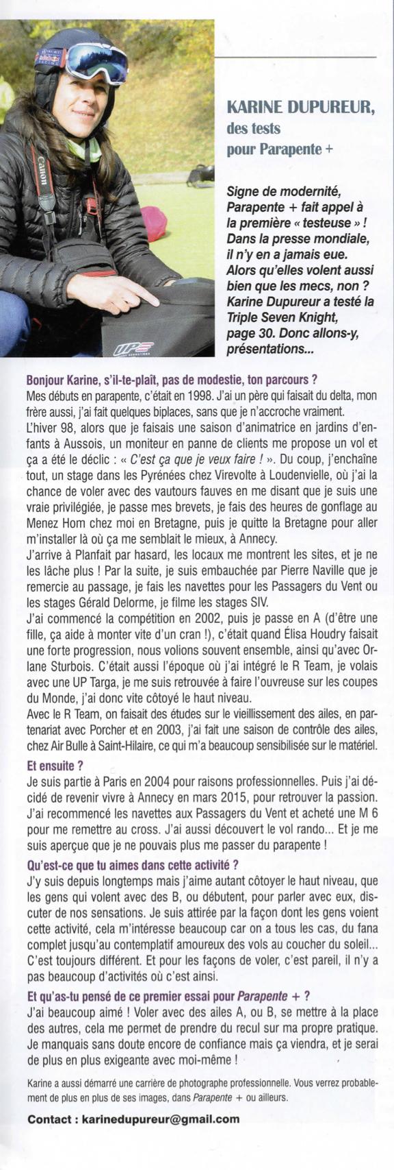 article presse présentant Karine Dupureur, auteur pour la presse spécialisée dans le parapente
