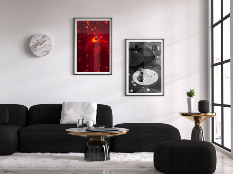 mockup salon avec 2 tableaux